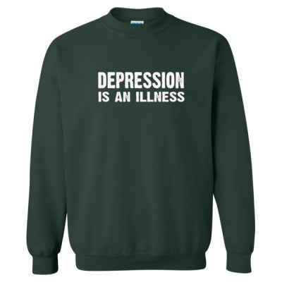 Depression Is An Illness Tshirt - Heavy Blend™ Crewneck Sweatshirt S-Forest- Cool Jerseys - 1