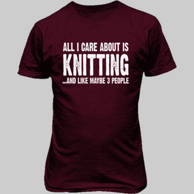 All i Care About Is Knitting tshirt - Unisex T-Shirt FRONT Print S-Heathered Cardinal- Cool Jerseys - 1