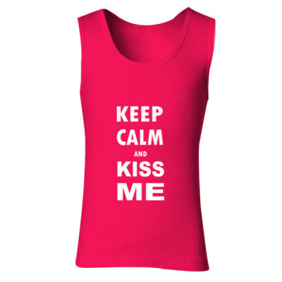 Keep Calm And Kiss Me - Ladies' Soft Style Tank Top S-Cherry Red- Cool Jerseys - 1
