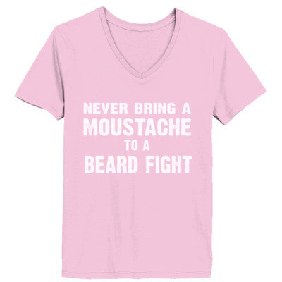 Never Bring A Moustache To A Beard Fight Tshirt - Ladies' V-Neck T-Shirt XS-Pale Pink- Cool Jerseys - 1