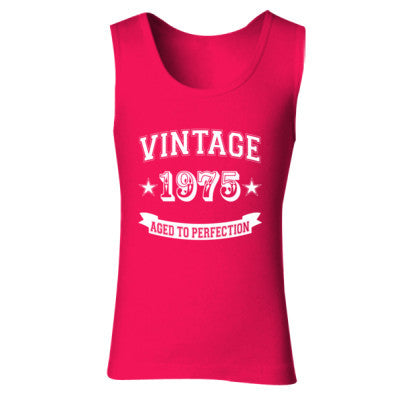Vintage 1975 Aged To Perfection tshirt - Ladies' Soft Style Tank Top S-Cherry Red- Cool Jerseys - 1