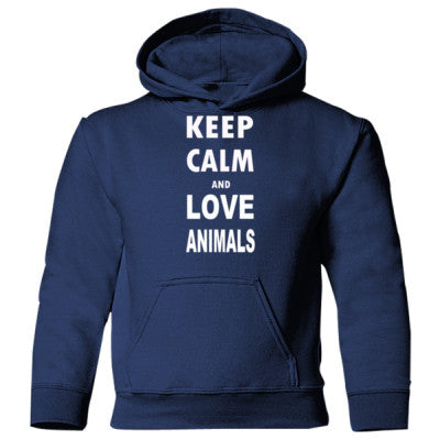 Keep Calm And Love Animals - Heavy Blend Children's Hooded Sweatshirt S-Navy- Cool Jerseys - 1