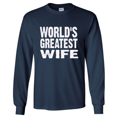 Worlds Greatest Wife - Long Sleeve T-Shirt S-Navy- Cool Jerseys - 1