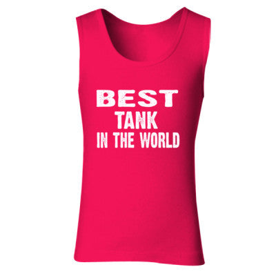 Best Tank In The World - Ladies' Soft Style Tank Top S-Cherry Red- Cool Jerseys - 1