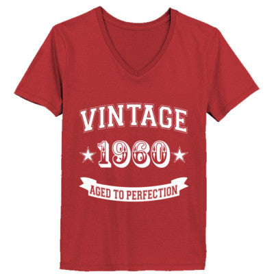 Vintage 1960 Aged To Perfection - Ladies' V-Neck T-Shirt XS-Vintage Red- Cool Jerseys - 1