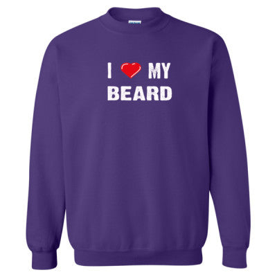 I Love My Beard tshirt - Heavy Blend™ Crewneck Sweatshirt S-Purple- Cool Jerseys - 1