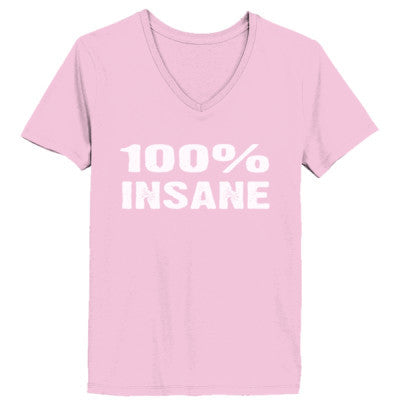 100% Insane tshirt - Ladies' V-Neck T-Shirt XS-Pale Pink- Cool Jerseys - 1