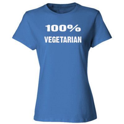 100% Vegetarian tshirt - Ladies' Cotton T-Shirt S-Carolina Blue- Cool Jerseys - 1