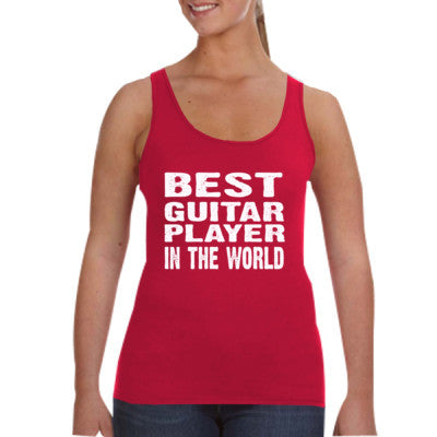 Best Guitar Player In The World - Ladies Tank Top S-Independence Red- Cool Jerseys - 1