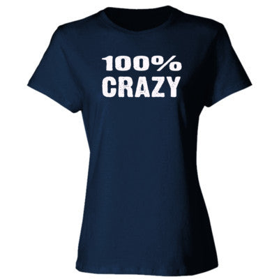100% Crazy tshirt - Ladies' Cotton T-Shirt S-Navy- Cool Jerseys - 1