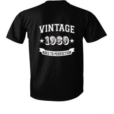 Vintage 1960 Aged To Perfection - Ultra-Cotton T-Shirt Back Print Only S-Real black- Cool Jerseys - 1