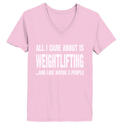All i Care About Weightlifter And Like Maybe Three People tshirt - Ladies' V-Neck T-Shirt XS-Pale Pink- Cool Jerseys - 1