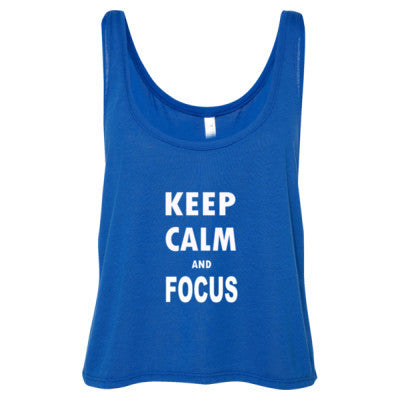 Keep Calm And Focus - Ladies' Cropped Tank Top S-True Royal- Cool Jerseys - 1