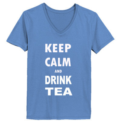 Keep Calm And Drink Tea - Ladies' V-Neck T-Shirt - Cool Jerseys - 1