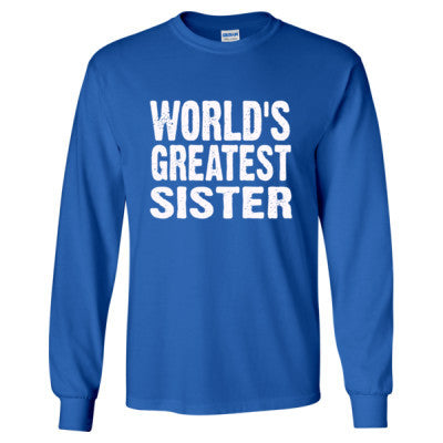 Worlds Greatest Sister - Long Sleeve T-Shirt S-Royal- Cool Jerseys - 1