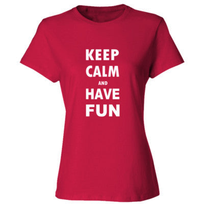 Keep Calm And Have Fun - Ladies' Cotton T-Shirt S-Deep Red- Cool Jerseys - 1