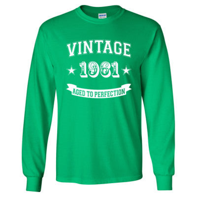 Vintage 1961 Aged To Perfection - Long Sleeve T-Shirt S-Irish Green- Cool Jerseys - 1