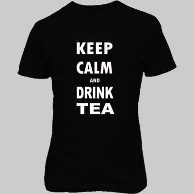 Keep Calm And Drink Tea - Unisex T-Shirt FRONT Print S-Real black- Cool Jerseys - 1