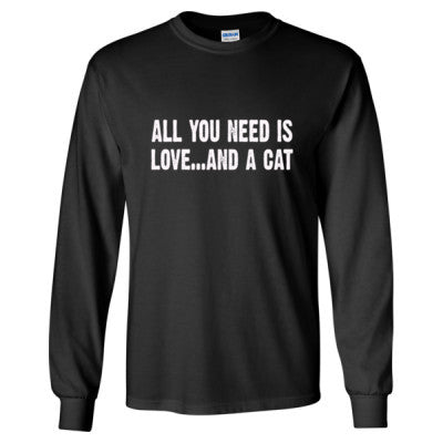 All you need is love and a cat tshirt - Long Sleeve T-Shirt S-Black- Cool Jerseys - 1
