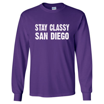 Stay Classy San Diego tshirt - Long Sleeve T-Shirt S-Purple- Cool Jerseys - 1
