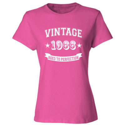 Vintage 1966 Aged To Perfection - Ladies' Cotton T-Shirt S-Wow Pink- Cool Jerseys - 1