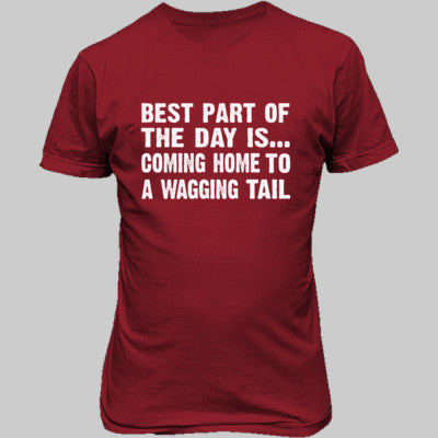 Best Part of the Day Is Coming Home To A Wagging Tail tshirt - Unisex T-Shirt FRONT Print S-Red- Cool Jerseys - 1