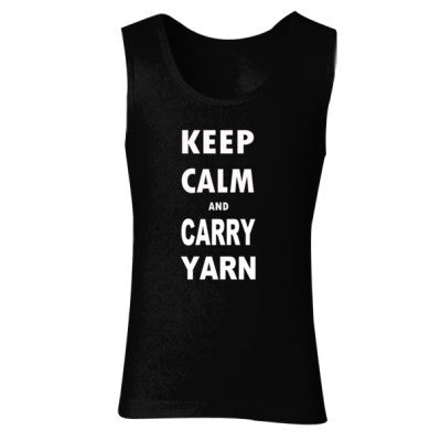 Keep Calm and Carry Yarn - Ladies' Soft Style Tank Top S-Black- Cool Jerseys - 1