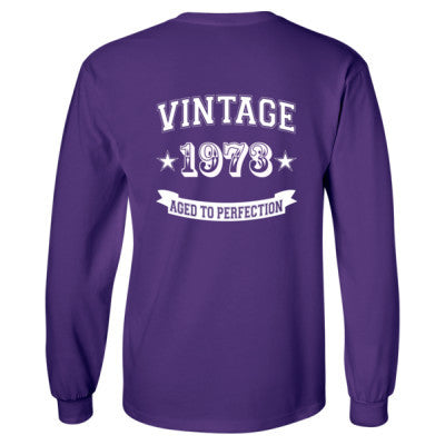 Vintage 1973 Aged To Perfection tshirt - Long Sleeve T-Shirt - BACK PRINT ONLY S-Purple- Cool Jerseys - 1