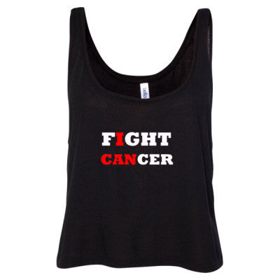 Fight Cancer Tshirt - Ladies' Cropped Tank Top S-Black- Cool Jerseys - 1