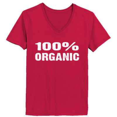 100% Organic tshirt - Ladies' V-Neck T-Shirt XS-Deep Red- Cool Jerseys - 1