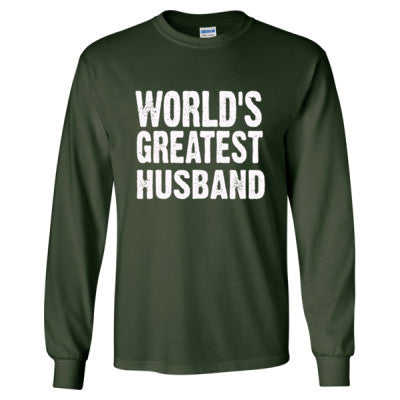 Worlds Greatest Husband - Long Sleeve T-Shirt S-Forest Green- Cool Jerseys - 1