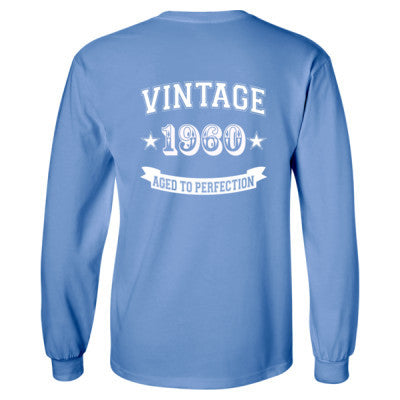 Vintage 1960 Aged To Perfection - Long Sleeve T-Shirt - BACK PRINT ONLY S-Carolina Blue- Cool Jerseys - 1