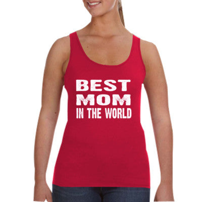 Best Mom In The World - Ladies Tank Top S-Independence Red- Cool Jerseys - 1