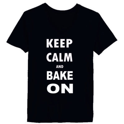 Keep Calm and Bake On - Ladies' V-Neck T-Shirt - Cool Jerseys - 1