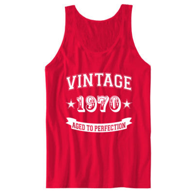 Vintage 1970 Aged To Perfection tshirt - Unisex Jersey Tank - Cool Jerseys - 1