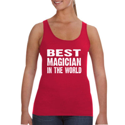 Best Magician In The World - Ladies Tank Top S-Independence Red- Cool Jerseys - 1