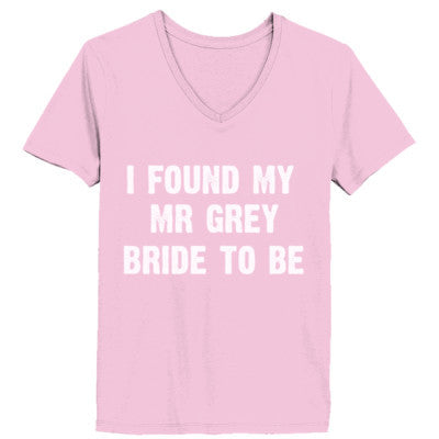 I Found My Mr Grey Tshirt - Ladies' V-Neck T-Shirt XS-Pale Pink- Cool Jerseys - 1