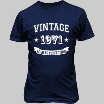 Vintage 1971 Aged To Perfection tshirt - Unisex T-Shirt FRONT Print S-Metro Blue- Cool Jerseys - 1