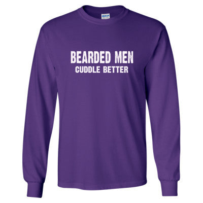 Bearded Men Cuddle Better tshirt - Long Sleeve T-Shirt S-Purple- Cool Jerseys - 1