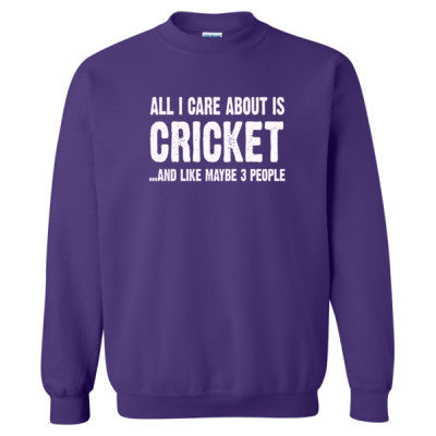 All i Care About Cricket And Like Maybe Three People tshirt - Heavy Blend™ Crewneck Sweatshirt - Cool Jerseys - 1
