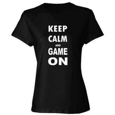 Keep Calm And Game On - Ladies' Cotton T-Shirt S-Black- Cool Jerseys - 1