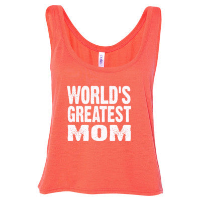 Worlds Greatest Mom - Ladies' Cropped Tank Top S-Coral- Cool Jerseys - 1