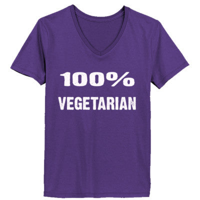 100% Vegetarian tshirt - Ladies' V-Neck T-Shirt XS-Purple- Cool Jerseys - 1