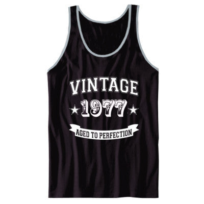 Vintage 1977 Aged To Perfection tshirt - Unisex Jersey Tank XS-Black- Cool Jerseys - 1