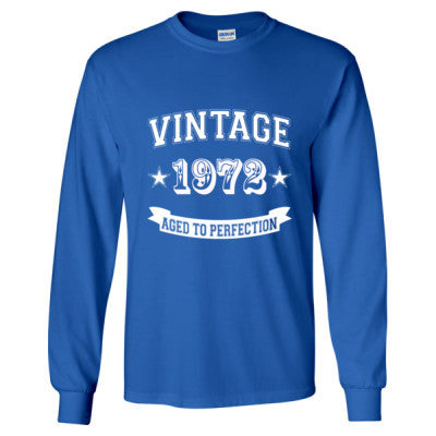 Vintage 1972 Aged To Perfection tshirt - Long Sleeve T-Shirt S-Royal- Cool Jerseys - 1