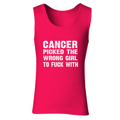 Cancer Picked The Wrong Girl To Fuck With Tshirt - Ladies' Soft Style Tank Top S-Cherry Red- Cool Jerseys - 1