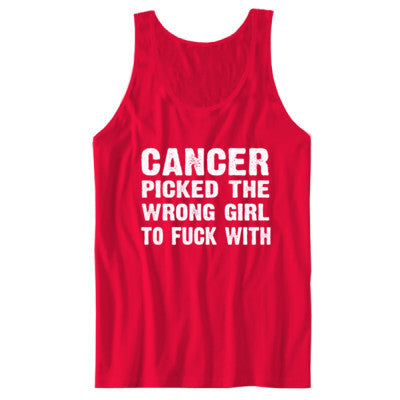 Cancer Picked The Wrong Girl To Fuck With Tshirt - Unisex Jersey Tank S-Red- Cool Jerseys - 1