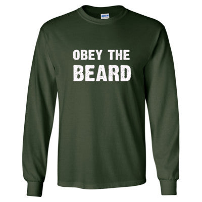 Obey The Beard Tshirt - Long Sleeve T-Shirt S-Forest Green- Cool Jerseys - 1