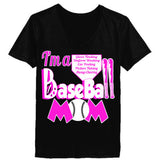 Baseball Mom Tee - Ladies' V-Neck T-Shirt XS-Black- Cool Jerseys - 2