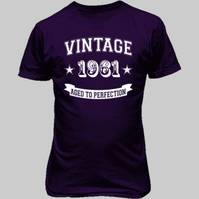 Vintage 1961 Aged To Perfection - Unisex T-Shirt FRONT Print S-Purple- Cool Jerseys - 1